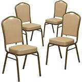 Flash Furniture 4 Pack HERCULES Series Crown Back Stacking Banquet Chair in Beige Patterned Fabric - Gold Frame