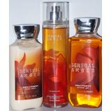 3 Piece Bath & Body Works Sensual Amber Fragrance Gift Set- Fragrance Mist, Shower Gel, and Body Lotion (Sensual Amber)