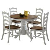 "French Countryside Oak/White 42"" Round Pedestal Dining Table with 4 Chairs by Home Styles"