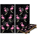 Cornhole Bag Toss Game Board Vinyl Wrap Skin Kit - Flamingos on Black (fits 24x48 Game Boards - Gameboards NOT Included)