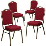 Flash Furniture 4 Pack HERCULES Series Crown Back Stacking Banquet Chair in Burgundy Fabric - Gold Vein Frame