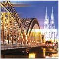Artland Glasbild Köln Skyline Abstrakte Collage 10, Brücken, (1 St.) goldfarben Glasbilder Bilder Bilderrahmen Wohnaccessoires