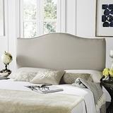 Safavieh Jeneve Taupe Linen Upholstered Camelback Headboard - Silver Nailhead (Queen)