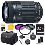 Canon EF-S 55-250 f/4-5.6 IS STM (8546B002) Pro Lens Kit Bundle. Bundle Includes: 32GB Memory Card, 58mm UV, Polarizer & FLD Deluxe Filter Kit, Card Reader, Professional Blower, Memory Card Wallet, Lens Cleaning Kit, Lens Cap Keeper, Deluxe Gadget Bag, an