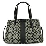 Coach Signature Stripe Drawstring Carryall in Black & White - Style 28501