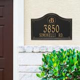 Designer Arch Wall Address Plaque - 1 Line, Estate, Black/Gold Plaque with Fleur-de-Lis - Frontgate