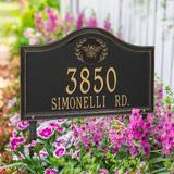 Designer Arch Lawn Address Plaque - 2 Lines, Estate, Black/Gold Plaque with Pineapple - Frontgate