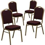 Flash Furniture 4 Pack HERCULES Series Crown Back Stacking Banquet Chair in Burgundy Patterned Fabric - Gold Frame