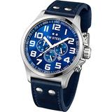 TW Steel Pilot Unisex Quartz Watch with Blue Dial Chronograph Display and Blue Leather Strap TW402