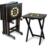Imperial Officially Licensed NHL Merchandise: Foldable Wood TV Tray Table Set with Stand, Boston Bruins