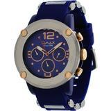 Omax #PA09L44B Men's Navy Blue Tone Bullet Resin Band Multi-Function Watch