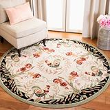 Safavieh Chelsea Collection HK92A Hand-Hooked French Country Wool Area Rug, 3' x 3' Round, Cream / Black