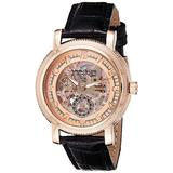Akribos XXIV Men's 'Retro' Automatic Skeleton Watch - Rose Gold-tone See Through Dial Second Subdial On Embossed Alligator Pattern Black Leather Strap Watch - AK634