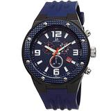 Joshua & Sons Men's Multifunction Watch - 3 Subdials with Date Window - 11 Decorative Screw Hour Markers, Colored Dial and Matching Colored Silicone Strap - JS62