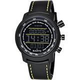 Suunto Elementum Terra Black/Yellow Leather Digital Display Quartz Watch, Black Leather Band, Round 51.5mm Case