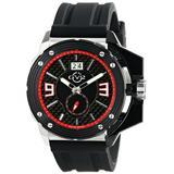 GV2 by Gevril Grande Mens Swiss Quartz Black Silicone Strap Watch, (Model: 9400)