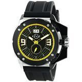 GV2 by Gevril Grande Mens Swiss Quartz Black Silicone Strap Watch, (Model: 9404)