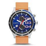 Diesel Double Down 48 Blue Dial Chronograph Blue Dial Tan Leather Mens Watch DZ4322