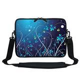 Meffort Inc 11.6 Inch Neoprene Laptop Sleeve Bag Carrying Case with Hidden Handle and Adjustable Shoulder Strap (Blue Swirl)