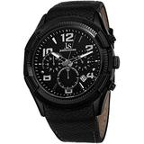 Joshua & Sons Men's Chronograph Quartz Watch - 3 Subdials with Date Window Embossed Pattern Black Dial On Black Leather Strap - JS69
