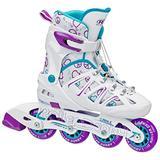 Roller Derby Girl's Stinger 5.2 Adjustable Inline Skate, Medium, White/Purple/Teal
