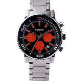 Time100 Men's Fashion Steel Band Black&Orange Dial Classic Business&Casual Watch #W70067G.02A