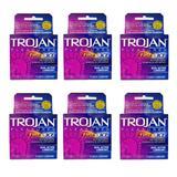 Trojan Pleasure Fire & ICE Dual Action Ultrasmooth Lubricated Premium Latex Condoms - 6 Travel Packs 3 Condoms in Each Pack (18 Condoms Total) -Tj12