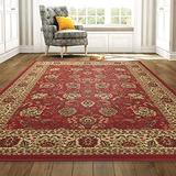 "Ottomanson OTH2130-5X7 Ottohome Floral Rug, Dark, 5'0"" X 6'6"", Red Persian, 6 Feet"