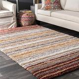 nuLOOM Classie Hand Tufted Shag Area Rug, 5' x 8', Red Multi