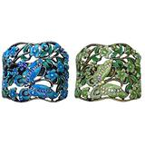 Set of 2 Crystal Butterfly Hair Holder Barrettes Ponytail Hair Barrettes for Women Girls YY86900-4-2greensBlue
