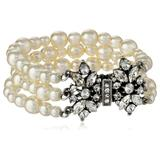 Ben-Amun Jewelry 3 Row Pearl with Crystal Closure Bracelet