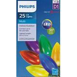 Philips 25 Count C9 Indoor/Outdoor LED Christmas String Lights, A6 - 6 Colors