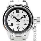 Orkina Mens Silver Dial Quartz Date Day Silver Color Stainless Steel Band Wrist Watch
