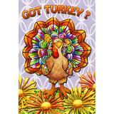 "Toland Home Garden Got Turkey 28 x 40 Inch Decorative Colorful Fall Autumn Thanksgiving Bird Flower House Flag, Orange/Red/Brown/Rainbow, House Flag- 28"" x 40"" - 109682"