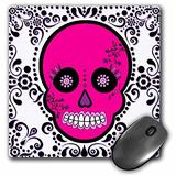 3dRose LLC 8 x 8 x 0.25 Inches Mouse Pad, Day of The Dead Dia De Los Muertos Sugar Skull Pink/White Black Scroll Design (mp_28871_1)
