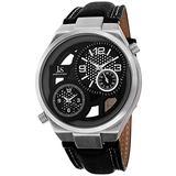 Joshua & Sons Men's Dual Time Watch - Swiss Quartz Unique Complication Dials On Genuine Leather Strap Watch - JS83
