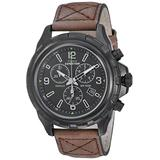 Timex Men's T49986 Expedition Rugged Chronograph Brown/Black Leather Strap Watch