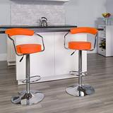 Flash Furniture CH-TC3-1060-ORG-GG Contemporary Orange Vinyl Adjustable Height Barstool with Arms and Chrome Base, Pack of 1