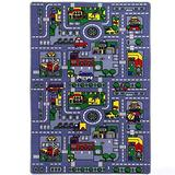 "Kids Rug City Map Fun Play Rug 5' X 7' Children Area Rug - Non Skid Gel Backing (59"" x 82"")"