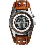 Fossil Men's JR1471 Coachman Stainless Steel Ana-Digi Watch with Brown Leather Band