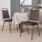 Flash Furniture 4 Pack HERCULES Series Trapezoidal Back Stacking Banquet Chair in Brown Vinyl - Gold Frame