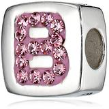 """Hello Kitty Girls Sterling Silver Enamel and Crystal Initial """"B"""" Bead Charms"""