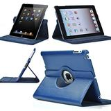 Zeox 360 Degree Rotating iPad 2 Case (Navy Blue): Folio Convertible Cover Multi-Angle Vertical and Horizontal Stand with Smart On/Off for The Apple iPad 2/iPad 3/iPad 4