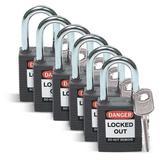"BRADY 51353 Lockout Padlock,KD,Black,1-3/4""H,PK6"