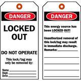 """BRADY 65454 Lock Out Danger Tag, 5.75""""H x 3""""W,Cardstock,PK25"""