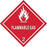 ZORO SELECT 9DXU4 Flammable Gas DOT Label, Class 2, White/Red, Pk100