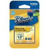 """BROTHER M831 Adhesive Label Tape Cartridge 0.47"""" x 26-1/5 ft., Black/Gold"""