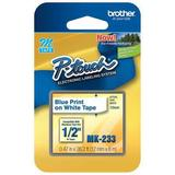 """BROTHER MK233 Adhesive Label Tape Cartridge 0.47"""" x 26-1/5 ft., Blue/White"""