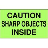 """TAPECASE 16U904 3"""" x 5"""" Adhesive Back Shipping Labels, Caution Sharp Objects"""