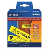 BROTHER DK4605 Removable Label, Black/Yellow, Labels/Roll: Continuous